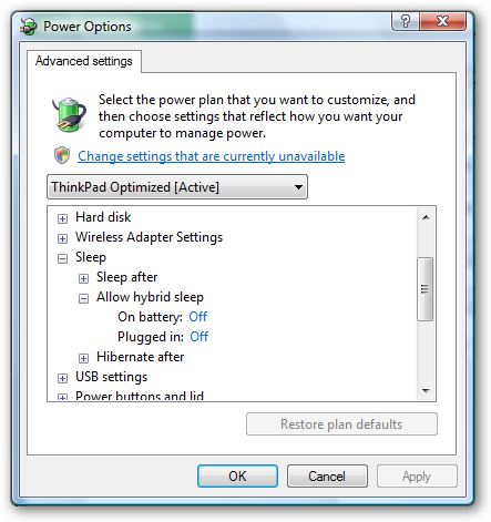 how to turn off sleep mode on lenovo laptop